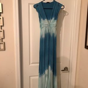 Xs blue tie dye ale braided dress